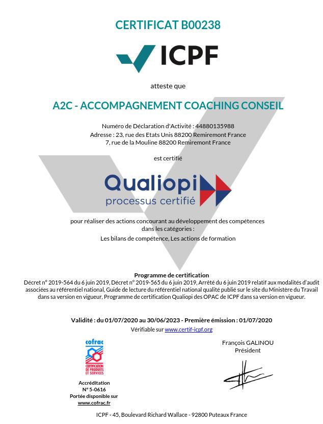 certificat qualiopi A2C